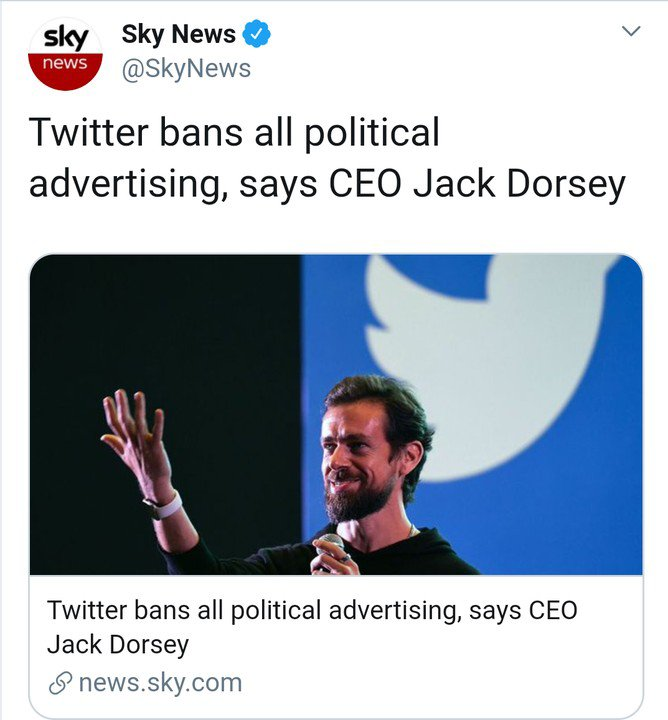 Twitter to Bans Political Ads – CEO, Jack Dorsey announced