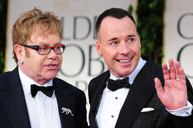 Sir Elton John and his husband David Furnish at Prince harry and Meghan Markle Royal wedding