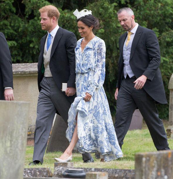 Meghan Markle and Prince Harry attend the wedding of Princess Diana's niece Celia McCorquodale