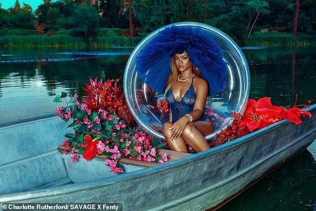 Rihanna flashes her sexy sheer bodysuit as she promotes her Savage x Fenty holiday collection