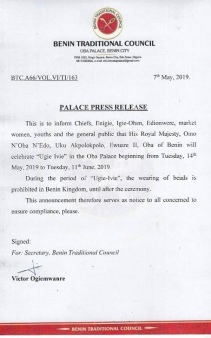 Oba of Benin, Ewuare II Bans The Wearing Of Beads In His Kingdom