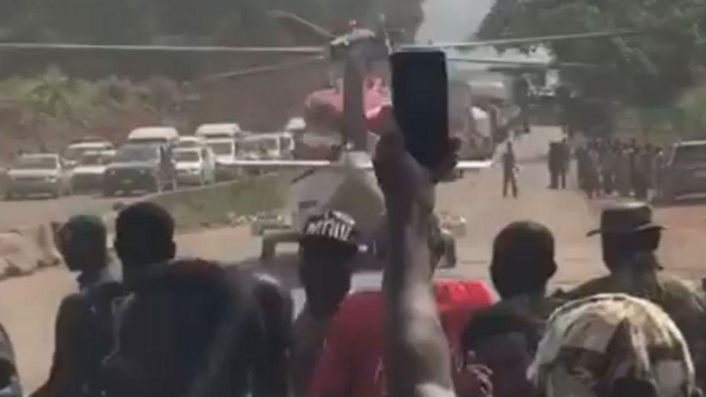 Benin-Ore road helicopter landing
