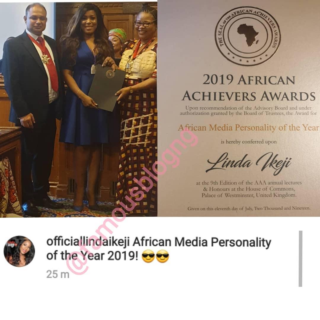 Linda Ikeji awarded 2019 African Media Personality Award in UK