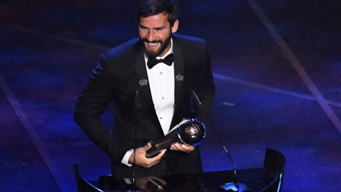 Alisson Becker crowned best Goalkeeper of the Year at 2019 FIFA Football Awards