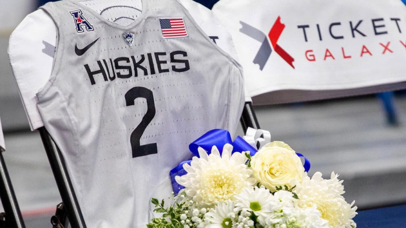 University of Connecticut pays tribute to Gianna Bryant make her a custom jersey and saving her a seat