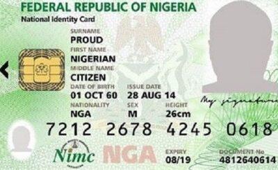NIMC card of Nigerian