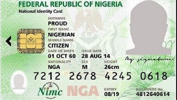NIMC card of Nigerian