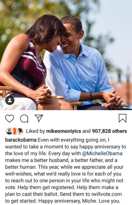 Barack & Michelle Obama share heartwarming message on Instagram to celebrate their 28th wedding anniversary