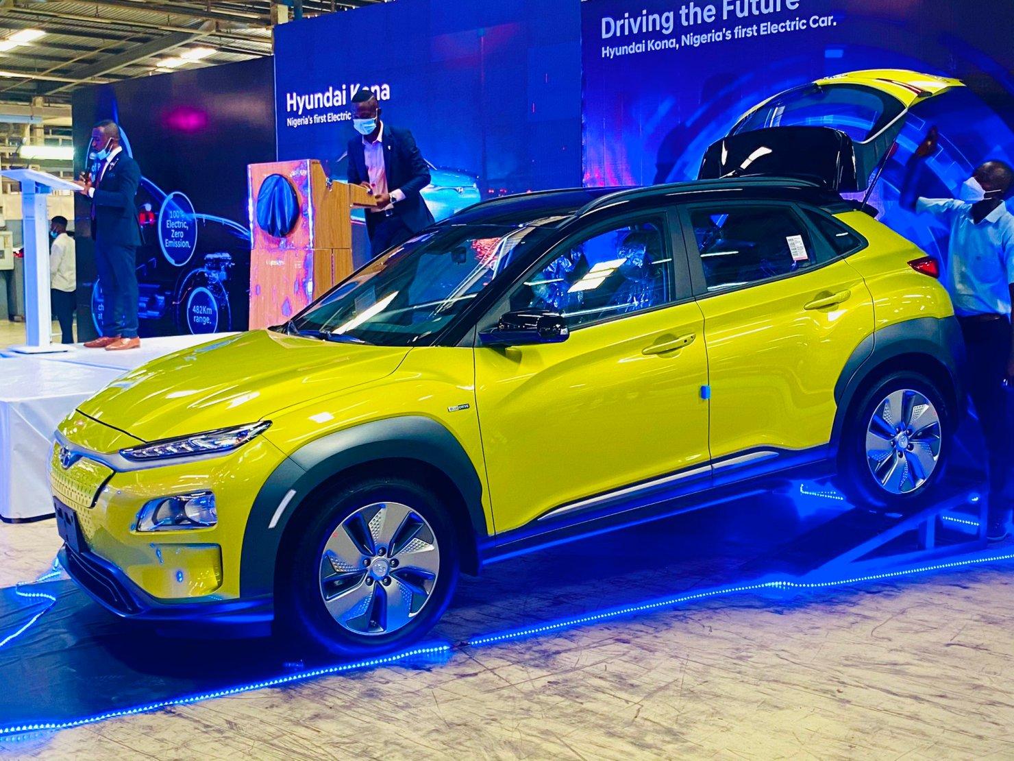 Lagos Governor unveils first electric car in Nigeria,Hyundai Kona