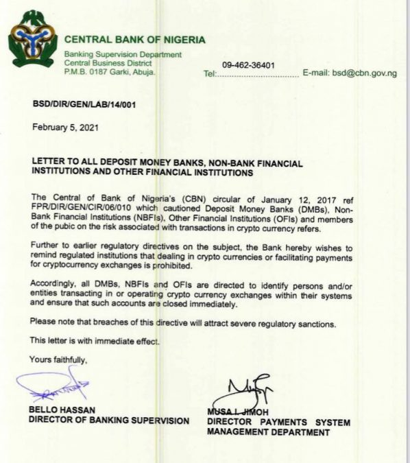CBN directs banks to close accounts related to Crypto